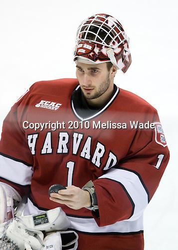 John Riley (Harvard - 1) - The Northeastern University Huskies defeated the Harvard University Crimson 4-1 (EN) on Monday, February 8, 2010, at the TD Garden in Boston, Massachusetts, in the 2010 Beanpot consolation game.