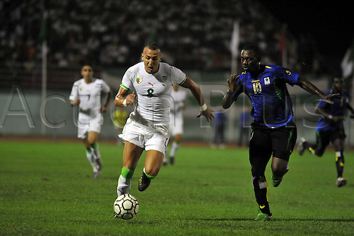 03 09 2010   ALGIERS  Yebda Hassan l of Algeria Fights for The Ball with Abdi Kassim of Tanzania during their Group D Soccer Match of 2012 African Cup Qualification Tournament in Mustapha