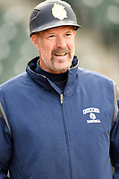 Head coach Jack McDowell of the Queens University Royals in a game against the North Greenville Crusaders on Tuesday, March 12, 2019, at Fluor Field at the West End in Greenville, South Carolina. McDowell is a former Major League pitcher and 1993 Cy Young Award winner. (Tom Priddy/Four Seam Images)