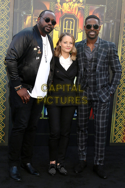 WESTWOOD, CA - MAY 19: Brian Tyree Henry, Jodie Foster, Sterling K Brown at the premiere of Global Road Entertainment's 'Hotel Artemis' at Regency Village Theatre on May 19, 2018 in Westwood, California. <br /> CAP/MPI/DE<br /> &copy;DE//MPI/Capital Pictures