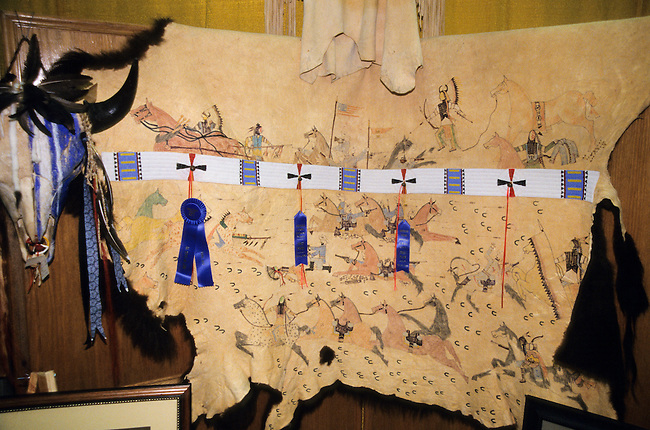 Traditional artwork of a painted buffalo robe by Joseph Skywolfe (Apache) displayed at the Red Earth Indian Festival, Oklahoma City, OK