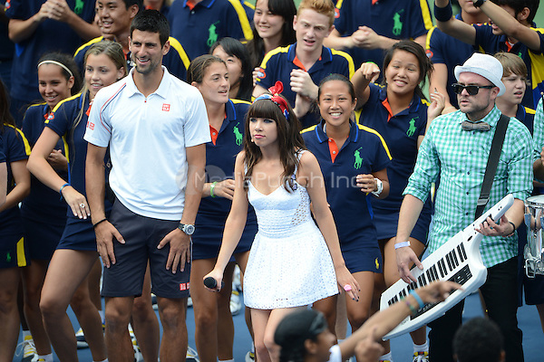 FLUSHING NY- AUGUST 25: Carly Rae Jepsen at Arthur Ashe kids day on Arthur Ashe stadium at the USTA Billie Jean King National Tennis Center on August 25, 2012 in Flushing Queens. Credit: mpi04/MediaPunch Inc.