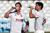Alastair Cook (R) and Tom Westley take on water on a hot afternoon during Essex CCC vs Somerset CCC, Specsavers County Championship Division 1 Cricket at The Cloudfm County Ground on 25th June 2018