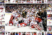 Boston University Terriers - 2009 National Champions collage featuring all players and as many staff as possible in border images.