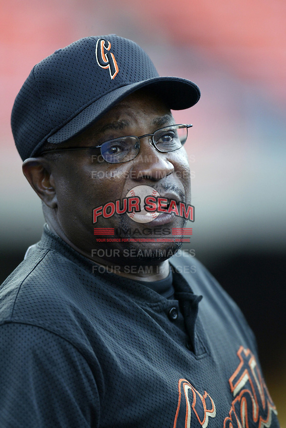 San Francisco Giants Dusty Baker during a 2002 MLB season game against the Los Angeles Dodgers at Dodger Stadium, in Los Angeles, California. (Larry Goren/Four Seam Images)