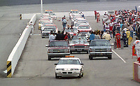 Pre race activities before the Southern 500 at Darlington Raceway in Darlington, SC in September 1988. (Photo by Brian Cleary/www.bcpix.com)