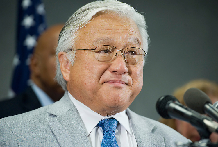 "UNITED STATES - JULY 28:  Rep. Mike Honda, D-Calif., speaks during a news conference at the Democratic National Committee's headquarters in advance of the August recess to ""highlight the real Republican agenda for America, how Republicans would move America backwards and a new Democratic party strategy to communicate the Republicans' plans to the American people."" (Photo By Tom Williams/Roll Call via Getty Images)"