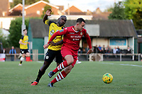 Matt Johnson of Hornchurch and Kudas Oyenuga of Margate during Hornchurch vs Margate, BetVictor League Premier Division Football at Hornchurch Stadium on 13th August 2019