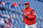 15 April 2018: Washington Nationals Manager Dave Martinez returns to the dugout after a visit to the mound during a game against the Colorado Rockies at Nationals Park in Washington, DC. All MLB players wore Number 42 to commemorate the life of Jackie Robinson and to celebrate Black Heritage Day in pro baseball. The Rockies edged out the Nationals 6-5 to take the final game of their 4-game series. Mandatory Credit: Ed Wolfstein Photo *** RAW (NEF) Image File Available ***
