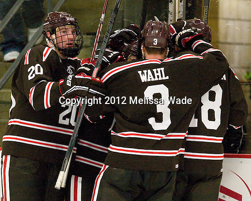 Dennis Robertson (Brown - 20), Matt Harlow (Brown - 9), Matt Wahl (Brown - 3), Ryan Jacobson (Brown - 18) - The Harvard University Crimson defeated the visiting Brown University Bears 3-2 on Friday, November 2, 2012, at the Bright Hockey Center in Boston, Massachusetts.