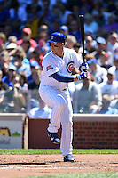 Chicago Cubs first baseman Anthony Rizzo (44) at bat during a game against the Milwaukee Brewers on August 14, 2014 at Wrigley Field in Chicago, Illinois.  Milwaukee defeated Chicago 6-2.  (Mike Janes/Four Seam Images)