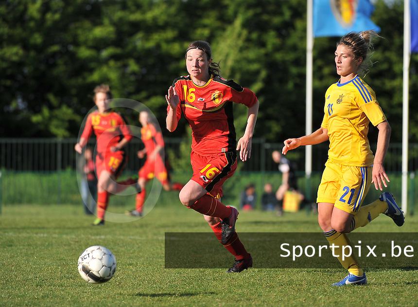 Belgium - Ukraine : Nicky Van Den Abbeele (16) in duel met Daria Vorontsova (21)<br /> foto DAVID CATRY / Nikonpro.be