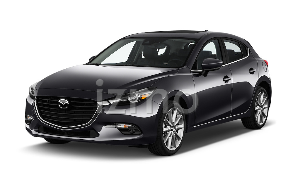 2018 Mazda Mazda3 Grand-Touring 5 Door Hatchback Angular Front stock photos of front three quarter view