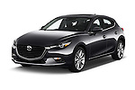 2017 Mazda Mazda3 Grand-Touring 5 Door Hatchback Angular Front stock photos of front three quarter view