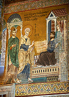 Medieval Byzantine style mosaics of the life of St Peter, the Palatine Chapel, Cappella Palatina, Palermo, Italy