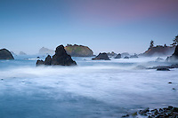 Dawn over the sea stacks at Crescent City, California
