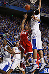 Anthony Davis blocks a shot by Gerald Robinson during the first half of the University of Kentucky basketball game against the University of Georgia, at Rupp Arena, on March 1, 2012. Photo by Latara Appleby | Staff ..