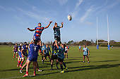 Sione Tuafolutu and Steve Kupa compete for the ball at a lineout. Counties Manukau Premier Club Rugby game between Ardmore Marist and Weymouth, played at Bruce Pulman Park on May 14th 2016. Ardmore Marist won the game 43 - 7 after leading 17 - 0 at halftime. Photo by Richard Spranger.