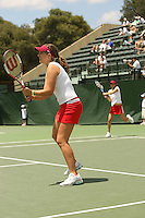 23 May 2006: Celia Durkin and doubles partner Amber Liu during Stanford's 4-1 win over the Miami Hurricanes in the 2006 NCAA Division 1 Women's Tennis Team Championships at the Taube Family Tennis Stadium in Stanford, CA.