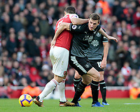 Burnley's Chris Wood gets away from Arsenal's Sokratis Papastathopoulos<br /> <br /> Photographer David Shipman/CameraSport<br /> <br /> The Premier League - Arsenal v Burnley - Saturday 22nd December 2018 - The Emirates - London<br /> <br /> World Copyright © 2018 CameraSport. All rights reserved. 43 Linden Ave. Countesthorpe. Leicester. England. LE8 5PG - Tel: +44 (0) 116 277 4147 - admin@camerasport.com - www.camerasport.com