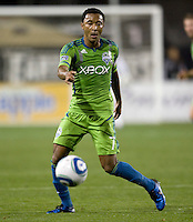 James Riley of Sounders in action during the game against the Earthquakes at Buck Shaw Stadium in Santa Clara, California on April 2nd, 2011.   San Jose Earthquakes and Seattle Sounders are tied 2-2.