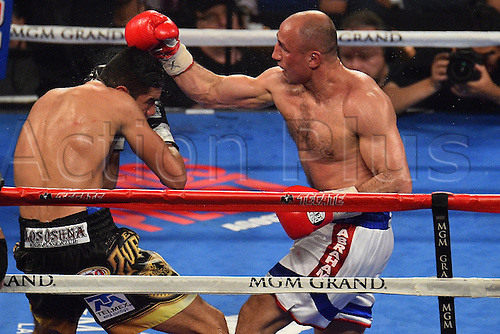 09.04.2016. Las Vegas, Nevada, USA. Arthur Abraham (R)  (Ger) throws a punch during the Abraham versus Ramirez WBO Super Middleweight World Championship fight in the MGM Grand Garden Arena at the MGM Grand Hotel and Casino in Las Vegas, Nevada. Gilberto Ramirez defeated Arthur Abraham by unanimous decision.