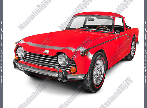Red 1968 Triumph TR250 classic retro car isolated on white background with clipping path