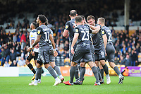 Lincoln City's players celebrate their third goal<br /> <br /> Photographer Andrew Vaughan/CameraSport<br /> <br /> The EFL Sky Bet League Two - Port Vale v Lincoln City - Saturday 13th October 2018 - Vale Park - Burslem<br /> <br /> World Copyright © 2018 CameraSport. All rights reserved. 43 Linden Ave. Countesthorpe. Leicester. England. LE8 5PG - Tel: +44 (0) 116 277 4147 - admin@camerasport.com - www.camerasport.com