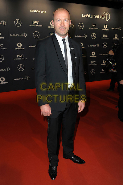 Alan Shearer OBE.Arrivals at the Laureus 2012 World Sports Awards held at the Queen Elizabeth II Centre, London, England..February 6th, 2012.full length black suit white shirt.CAP/CAS.©Bob Cass/Capital Pictures.