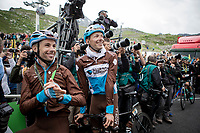 Oliver Naesen (BEL/AG2R-La Mondiale) & Mickaël Cherel (FRA/AG2R-La Mondiale) stick around for the podium ceremony to cheer for their friend & teammate Romain Bardet who is the winner for the Polka Dot Jersey<br /> <br /> shortened stage 20: Albertville to Val Thorens (59km in stead of the original 130km due to landslides/bad weather)<br /> 106th Tour de France 2019 (2.UWT)<br /> <br /> ©kramon