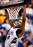 SIOUX FALLS, SD - MARCH 9:  Keith Benson #34 of Oakland dunks the ball and the SDSU Jackrabbits in their semifinal game of the Summit League Tournament Monday night at the Sioux Falls Arena. (Photo by Craig Johnson/Inertia)