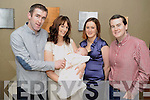 CHRISTENED: Baby Oisin Cremin, Kenmare, who was christened in the Holy Cross Church, Kenmare, by Fr Liam Lovell on Saturday, pictured with his parents Shane and Kate, godparents Lisa Cremin and Conan Loughrey at the celebrations in the Brook Lane Hotel afterwards.