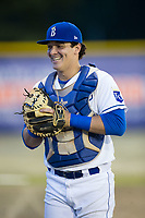 Burlington Royals catcher Michael Arroyo (24) hangs out in the bullpen during the game against the Danville Braves at Burlington Athletic Stadium on August 14, 2017 in Burlington, North Carolina.  The Royals defeated the Braves 9-8 in 10 innings.  (Brian Westerholt/Four Seam Images)