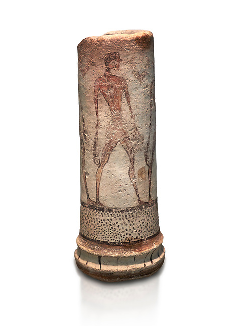 Cycladic cylindrical vase illustrated with a fisherman (1600 BC) , Phylakopi III, Melos. National Archaeological Museum Athens. Cat No 5782.  White background.<br /> <br /> <br /> The vase has a procession of 4 fishermen illustrated on iy running all the way round it.
