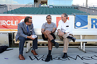 Cary, North Carolina  - Saturday September 09, 2017: Omar Morales is interviewed by Courage broadcasters Dean Linke and Anson Dorrance prior to a regular season National Women's Soccer League (NWSL) match between the North Carolina Courage and the Houston Dash at Sahlen's Stadium at WakeMed Soccer Park. The Courage won the game 1-0.