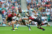 Sailosi Tagicakibau of London Irish is tackled by Will Fraser of Saracens during the Aviva Premiership match between Saracens and London Irish at Twickenham on Saturday 1st September 2012 (Photo by Rob Munro)