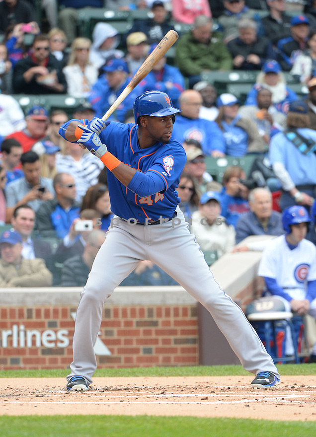 New York Mets John Mayberry Jr. (44) during a game against the Chicago Cubs on May 14, 2015 at Wrigley Field in Chicago, IL. The Cubs beat the Mets 6-5.