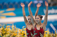 06.08.2012 Stratford, England. Koreas Hyang Mi Jang and Yon Hui Jong (DPR) compete in the Duets Free Routine during the Synchronised Swimming on Day 10 of the London 2012 Olympic Games in the Olympic Aquatics Centre.