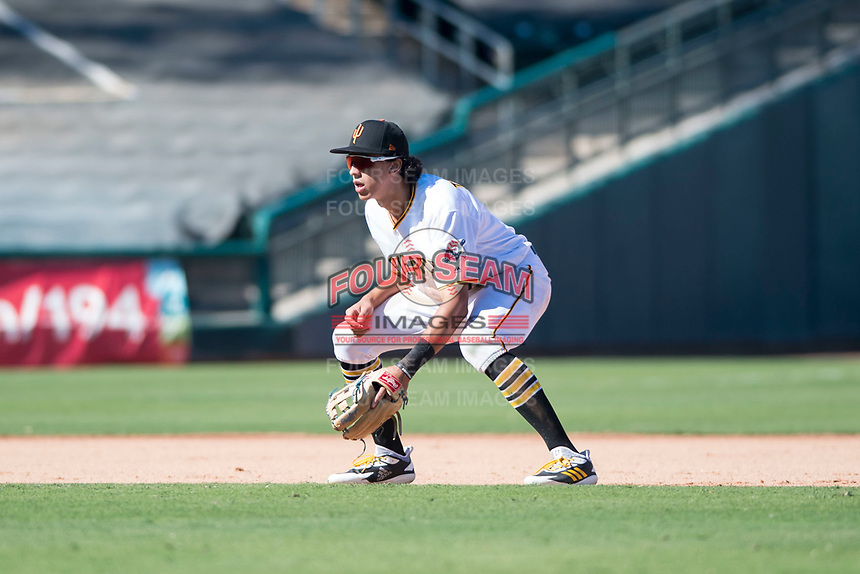 Surprise Saguaros shortstop Cole Tucker (2), of the Pittsburgh Pirates organization, during an Arizona Fall League game against the Salt River Rafters on October 9, 2018 at Surprise Stadium in Surprise, Arizona. Salt River defeated Surprise 10-8. (Zachary Lucy/Four Seam Images)