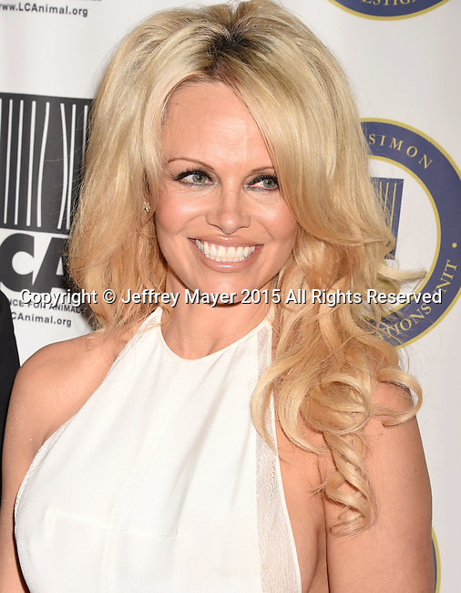 BEVERLY HILLS, CA - OCTOBER 24: Actress Pamela Anderson attends the Last Chance for Animals Benefit Gala at The Beverly Hilton Hotel on October 24, 2015 in Beverly Hills, California.
