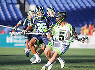 Annapolis, MD - July 7, 2018: New York Lizards Joe LoCascio (5) is being defended by Chesapeake Bayhawks Isaiah Davis-Allen (26) during the game between New York Lizards and Chesapeake Bayhawks at Navy-Marine Corps Memorial Stadium in Annapolis, MD.   (Photo by Elliott Brown/Media Images International)