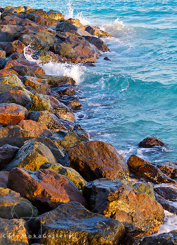 A study of rocks and sea colour and texture - Barbados