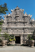 Yogyakarta, Java, Indonesia.  Javanese-Hindu Floral Decorations on the West Gate Entrance to the Taman Sari, the Water Castle, built by the Islamic Sultan, from inside the Courtyard.   Mid-18th. Century.