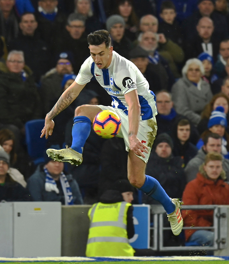 Brighton & Hove Albion's Lewis Dunk<br /> <br /> Photographer David Horton/CameraSport<br /> <br /> The Premier League - Brighton and Hove Albion v Liverpool - Saturday 12th January 2019 - The Amex Stadium - Brighton<br /> <br /> World Copyright © 2018 CameraSport. All rights reserved. 43 Linden Ave. Countesthorpe. Leicester. England. LE8 5PG - Tel: +44 (0) 116 277 4147 - admin@camerasport.com - www.camerasport.com