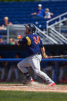 State College Spikes first baseman Casey Grayson (38) at bat during a game against the Batavia Muckdogs August 23, 2015 at Dwyer Stadium in Batavia, New York.  State College defeated Batavia 8-2.  (Mike Janes/Four Seam Images)