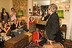 Quack Doctor introducing the play to a group of guests, in one of the so called 'big houses' who have gathered to see The Bampton Mummers perform on  Christmas Eve. Bampton Oxfordshire.   UK 2008.