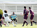 Wake's Steven Curfman (20) scores the games first goal at 37:47 by putting this shot past BC goalkeeper Issey Maholo (1) on Tuesday, November 8th, 2005 at SAS Stadium in Cary, North Carolina. The Wake Forest Demon Deacons defeated the Boston College Eagles 4-0 during their Atlantic Coast Conference Tournament Play-In game.