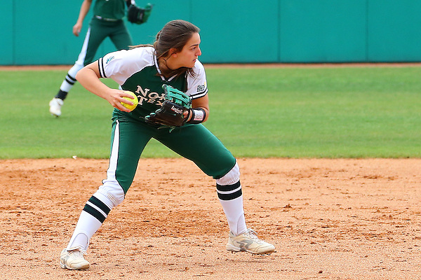 DENTON, TX - APRIL 7: Karly Williams #11 of University of North Texas mean green softball makes the throw to first base for the out against the Louisiana Lafayette University Ragin Cajuns at Fouts Field on April 7, 2013 in Denton, Texas.  (Photo by Rick Yeatts)