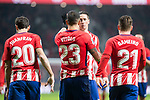 Atletico de Madrid Juanfran Torres, Vitolo Machin, Fernando Torres and Kevin Gameiro celebrating a goal during King's Cup match between Atletico de Madrid and Lleida Esportiu at Wanda Metropolitano in Madrid, Spain. January 09, 2018. (ALTERPHOTOS/Borja B.Hojas)