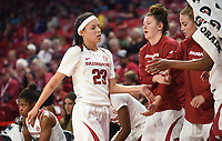 NWA Democrat-Gazette/DAVID GOTTSCHALK Arkansas Razorback Amber Ramirez comes off the court at the end of the game Friday, November 8, 2019, during play against the University of New Orleans Privateers at Bud Walton Arena in Fayetteville.